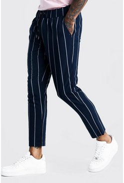 Mens Navy Wide Set Stripe Smart Cropped Jogger Trouser