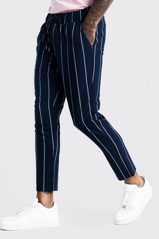 Mens Navy Wide Set Stripe Smart Cropped Jogger Pants