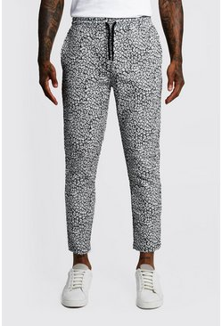 Mens Animal Print Cropped Jogger Trouser