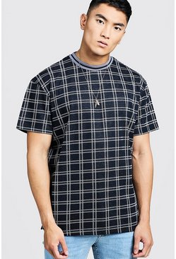 Mens Navy Step Hem Check T-Shirt With Rib Collar