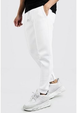 Mens White Scuba Pintuck Smart Joggers With Zips