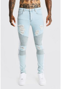Mens Light blue Super Skinny Biker Jeans With White Side Tape