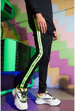Black Super Skinny Biker Jean With Neon Side Tape