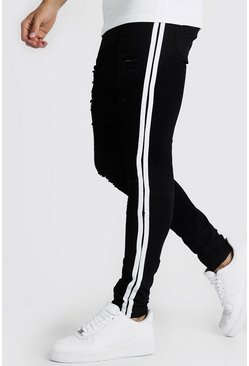 Black Super Skinny Biker Jean With White Side Tape