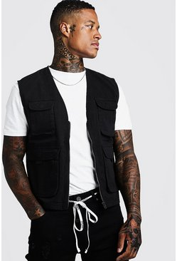 Mens Black Twill Utility Vest
