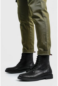 Mens Black Crackle PU Chunky Sole Military Boot