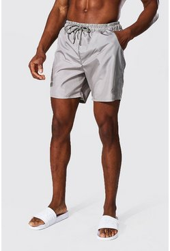 Taupe Tonal Man Embroidered Mid Length Swim Short