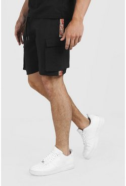 Black Drawstring Cargo Shorts With Side Tape
