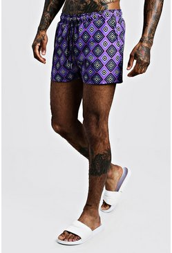 Mens Purple Tile Print Short Length Swim Short