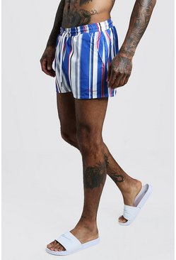 Mens Blue MAN Vertical Stripe Short Length Swim Short