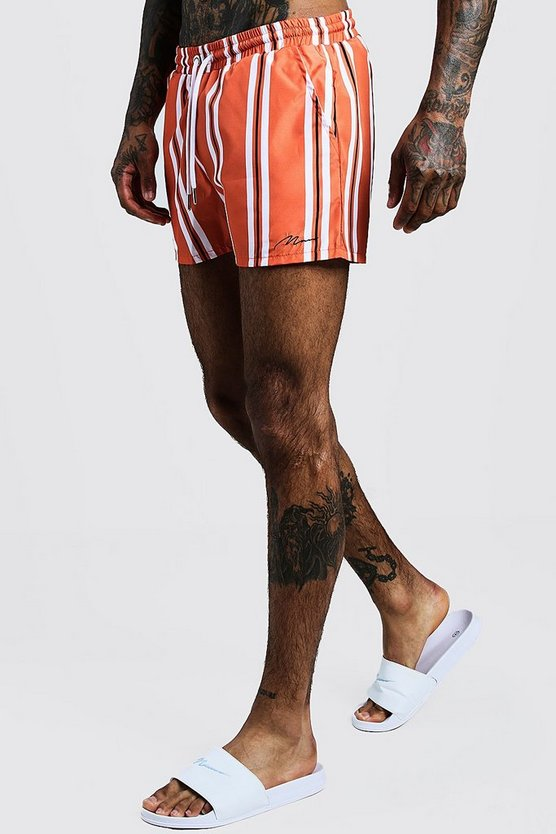 Mens Orange Vertical Stripe Short Length Swim Short