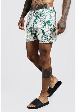 Mens Green Palm Print Mid Length Swim Short