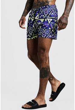 Mens Blue Tile Print Mid Length Swim Short