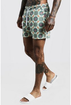 Mens Ecru Tile Print Mid Length Swim Short