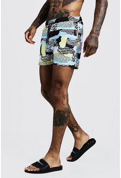 Mens Black Multi Animal Print Mid Length Swim Short