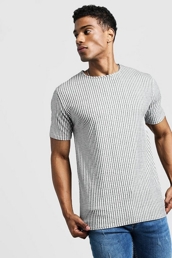 Mens Grey Ribbed Muscle Fit Tee