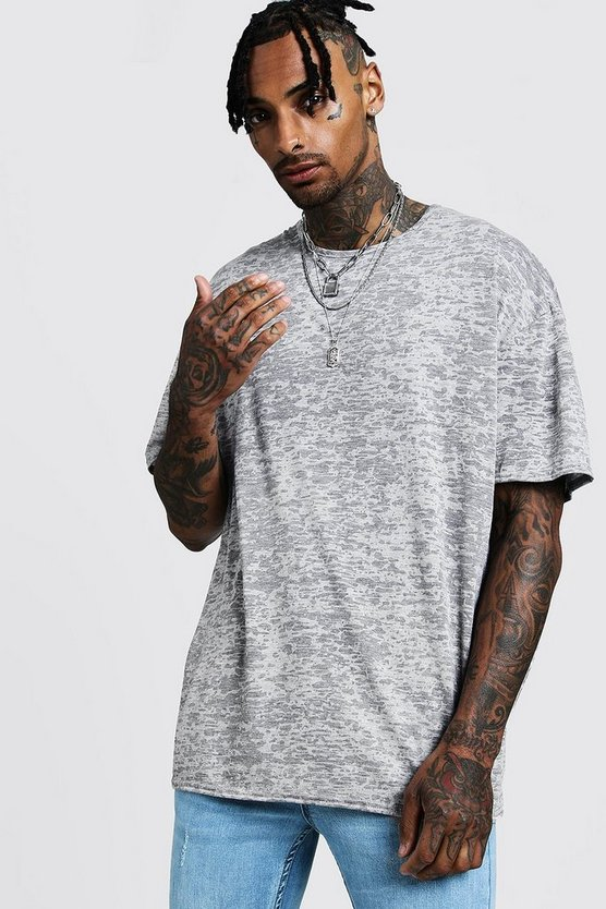 Mens Grey Oversized Burn Out Tee