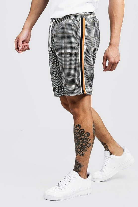 Mens Mustard Check Jacquard Tape Mid Length Short