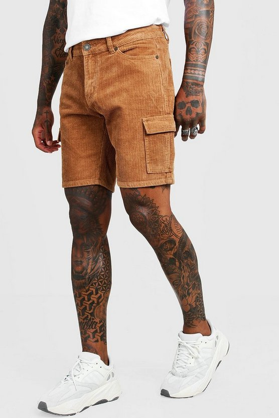 Mens Tobacco Cord Cargo Short In Slim Fit