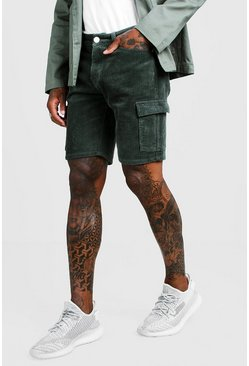 Mens Khaki Cord Cargo Short In Slim Fit