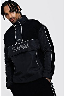Mens Black Borg Jacket With Nylon Panels