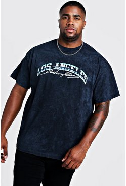 Mens Washed black Big & Tall MAN Los Angeles Print T-Shirt