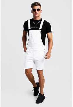 Mens White Slim Fit Short Length Dungarees