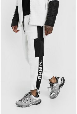 Mens White MAN Design Borg Joggers With Print & Panel Detail