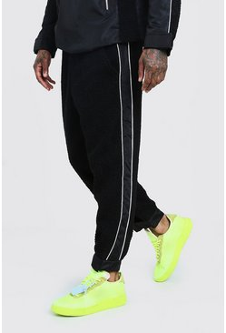 Mens Black MAN Design Borg Joggers With Nylon Panels
