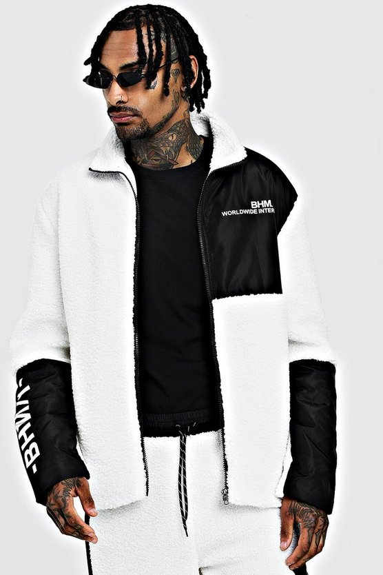 Mens White Borg Jacket With Contrast Panels