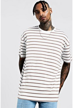 Mens Ecru Oversized Stripe T-Shirt