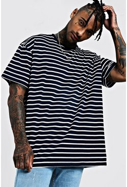 Mens Navy Oversized Stripe T-Shirt