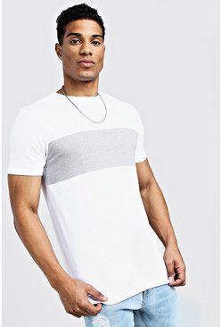 White Muscle Fit Colour Block Longline Tee