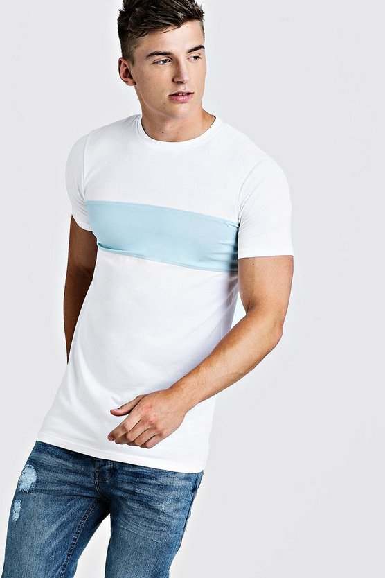 Mens White Muscle Fit Longline Colour Block Tee