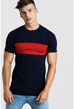 Mens Navy Muscle Fit Longline Colour Block Tee