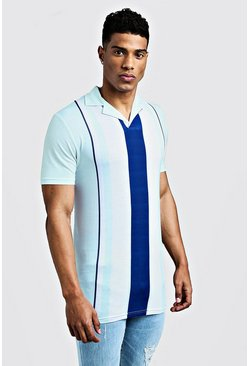 Mens Mint Muscle Fit Striped Revere Collar Polo