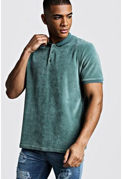 Mens Teal Velour Polo With Ribbed Collar