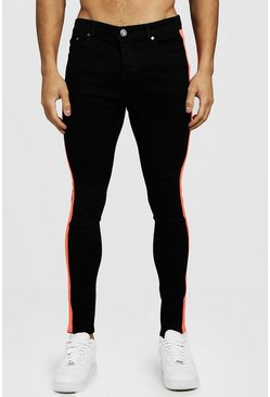 Mens Black Super Skinny Jeans With Neon Side Tape