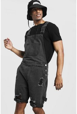 Mens Charcoal Slim Fit Short Dungarees With Distressing