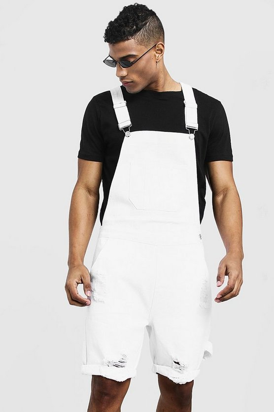Mens White Slim Fit Short Dungarees With Distressing