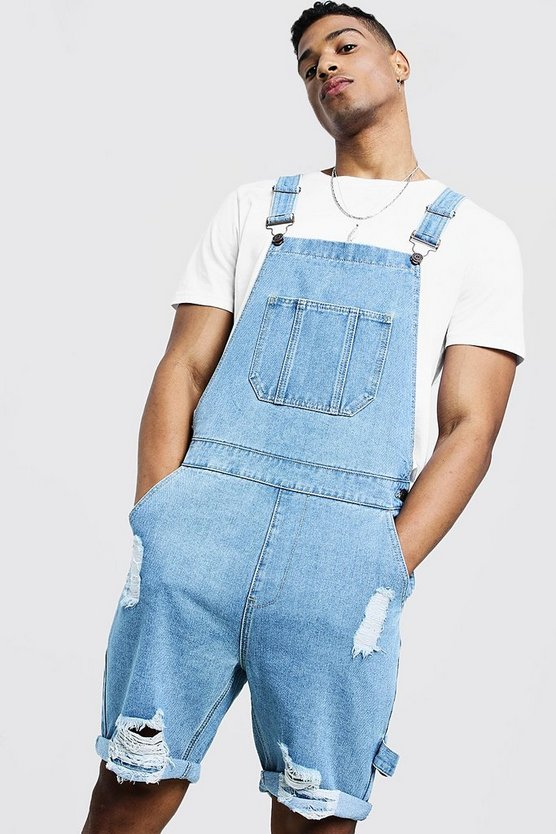 Mens Vintage wash Slim Fit Short Dungarees With Distressing
