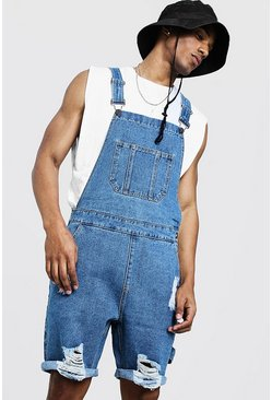 Mens Mid blue Slim Fit Short Dungarees With Distressing