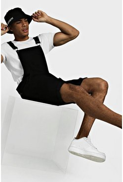 Mens Black Slim Fit Short Dungarees With Distressing