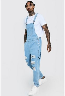 attractivefashion unparalleled fashion Slim Fit Denim Dungarees With Distressing