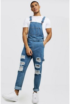 Mid blue Slim Fit Denim Overalls With Distressing