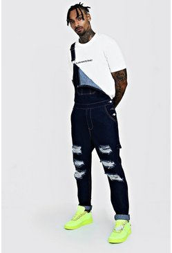 Mens Indigo Slim Fit Denim Dungarees With Distressing
