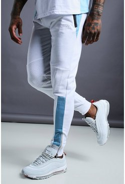 Mens White MAN Biker Tapered Skinny Fit Joggers