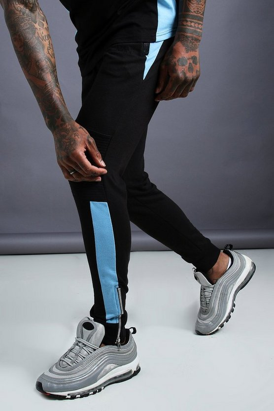 Mens Black MAN Biker Tapered Skinny Fit Joggers