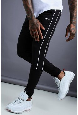 Mens Black MAN Tapered Jersey Jogger With Side Piping