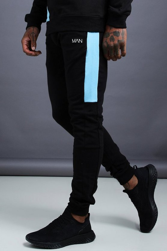 Mens Multi MAN Skinny Jersey Jogger With Side Panels
